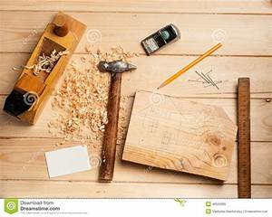 Joinery Tools On Wood Table Background With Stock Image