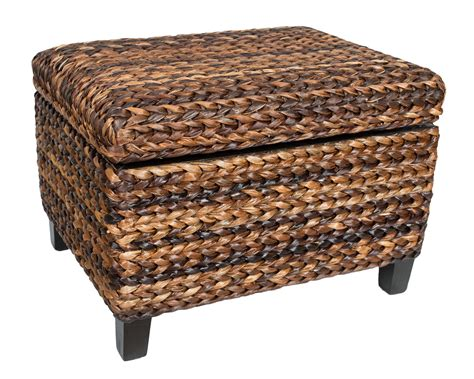 birdrock home woven seagrass storage ottoman with safety