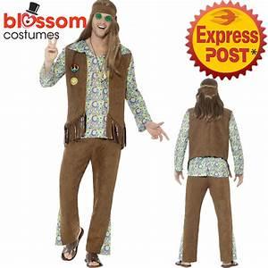 CA399 Mens Hippie Disco Costume 1960s Hippy Fancy Dress Up ...