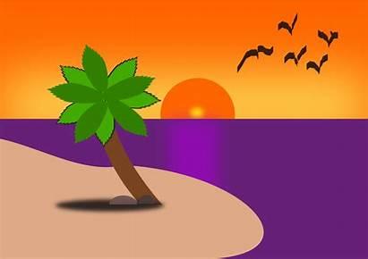 Beach Clipart Cartoon Drawing Sunset Scene Clip