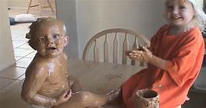 big sister covers baby brother in peanut butter her With sister bathroom cam