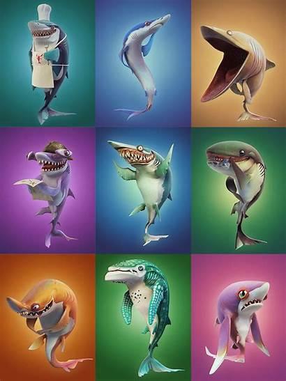 Shark Hungry Character Sharks Behance Games Megalodon