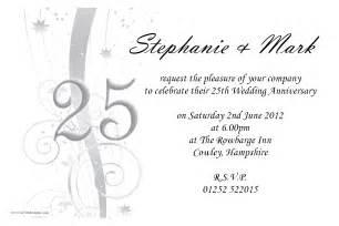 25 wedding anniversary amazing 25th wedding anniversary invitations theruntime