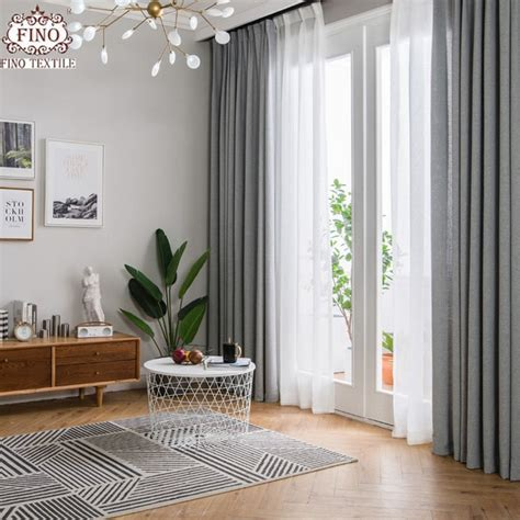 Living Room Curtain And Blind Ideas by Fino Nordic Gray Solid Curtain Fabrics For Living Room