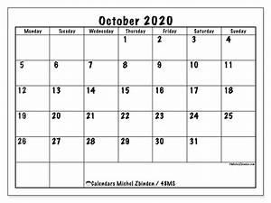 October 2020 Calendars Monday Sunday Michel Zbinden En