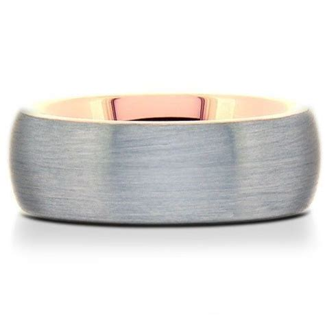 men s tungsten carbide wedding band ring rose gold inside and edges comfort fit bands without