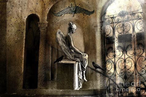 surreal with gargoyles and ravens photograph by kathy fornal