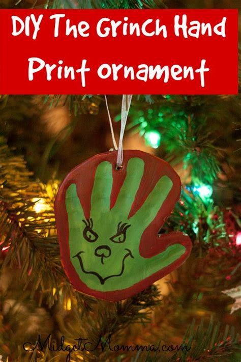 grinch hand print diy clay ornament