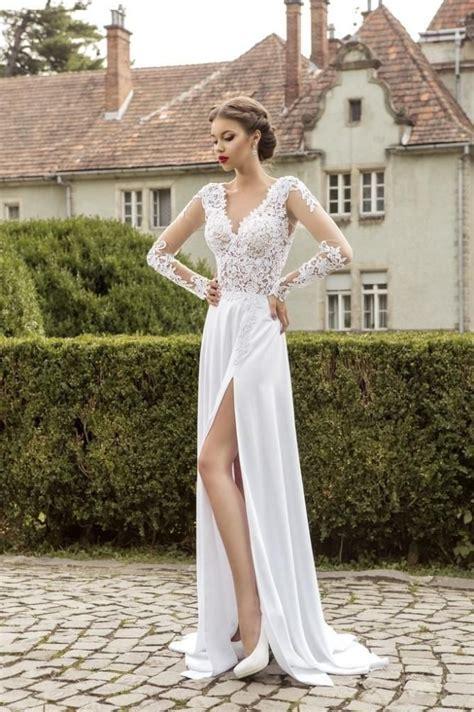 2015 Long Sleeve Lace Chiffon Beach Wedding Dresses V Neck