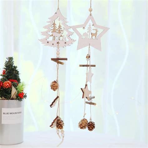 pointed star christmas tree wooden pendant hemp rope