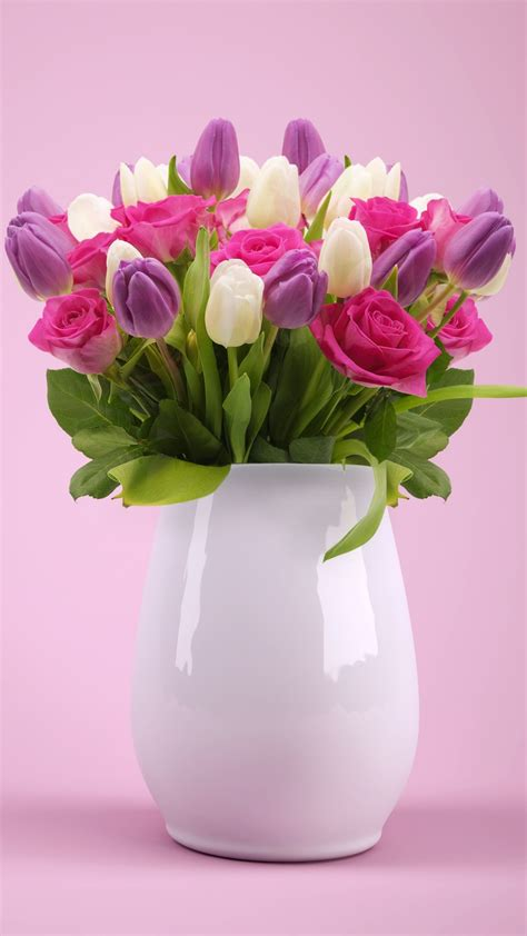 wallpaper flower bouquet roses colorful flower vase pink hd flowers