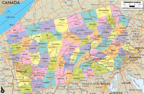 political map of pennsylvania ezilon maps