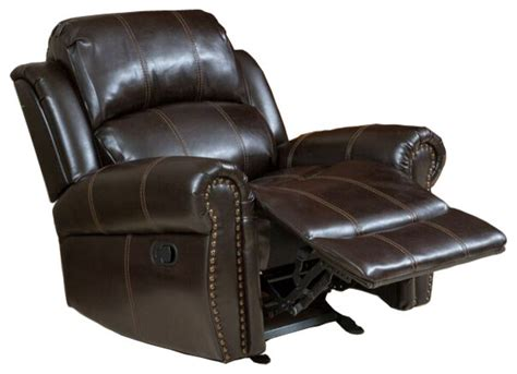 Gdfstudio Harbor Dark Brown Leather Glider Recliner Club