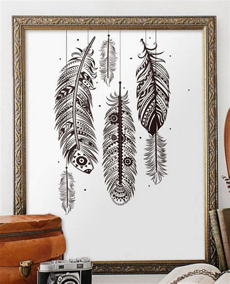 Or, for a boho chic retreat, embrace white walls to make your colorful decor stand out. Bohemian wall art, feather wall art, bohemian decor, printable art, home decor, boho decor ...