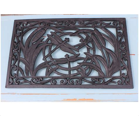 cast iron dragonfly door mat