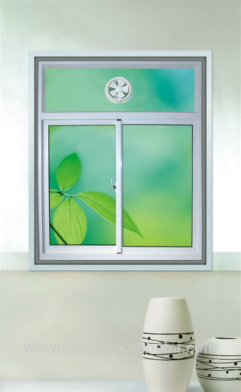 bathroom pvc upvc sliding window with exhaust fan