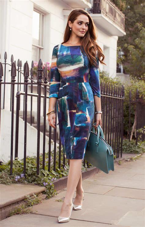 emily shift day dress painterly blue evening dresses