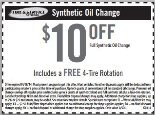 synthetic oil change   tire rotation