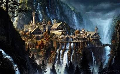 Rivendell Lord Fantasy Rivendel Waterfall Landscape Rings