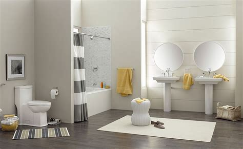 trendy  refreshing gray  yellow bathrooms  delight