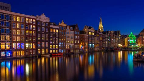 canal house amsterdam building netherlands  nighttime hd travel wallpapers hd wallpapers
