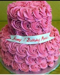 Pink Two-Tiered Birthday Cake