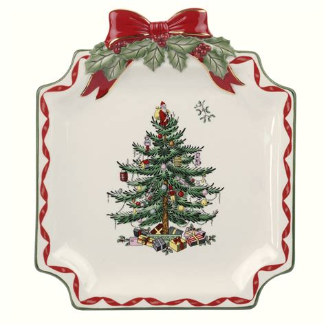 spode christmas tree gold ribbons canap plate 15 you