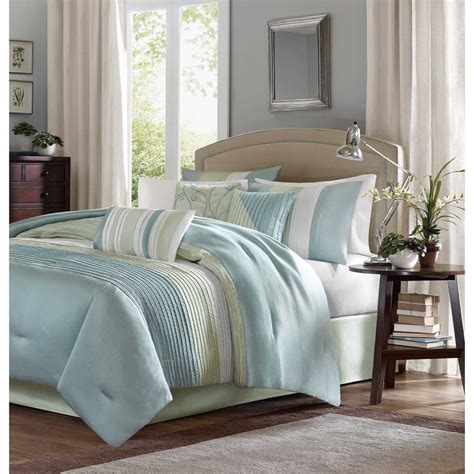 Light Blue Comforter Set by Beautiful Light Blue Green Ivory White Stripe