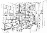 Interior Perspective Living Renderings Drawing Sketch Pages Rendering Colouring sketch template