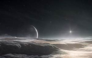 An artist's rendering of Pluto's surface, with Charon ...