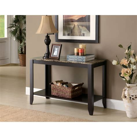 sofa table with bottom shelf meissner sofa table bottom shelf cappuccino finish
