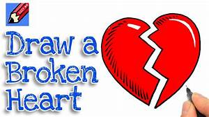 How to draw a Broken Heart Real Easy for kids and ...