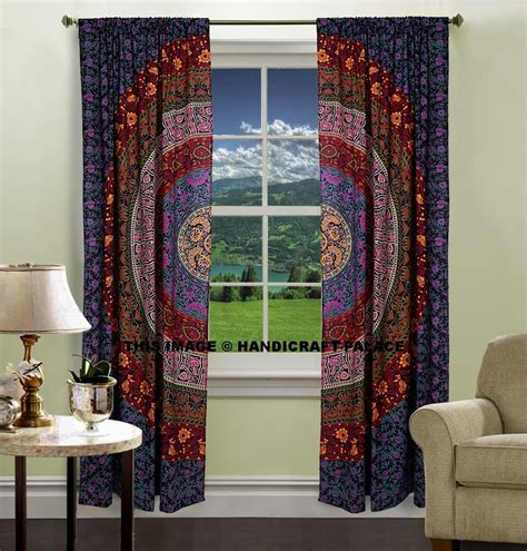 Drapes India - indian mandala print kitchen window curtains curtain