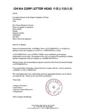 Business Invitation Letter To Visit Our Company - Fill
