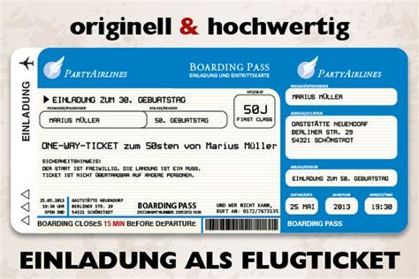 flugticket einladungskarten fuer geburtstag