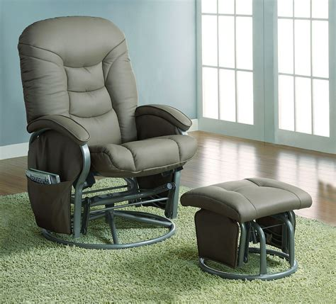 comfort swivel glider chair with ottoman in beige