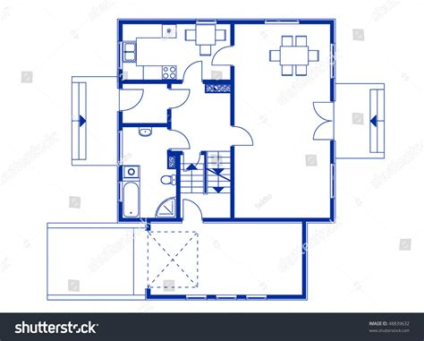 architectural house blueprint blue color ground stock vector  shutterstock