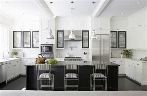 Black Kitchen Island with Black Marble Countertops