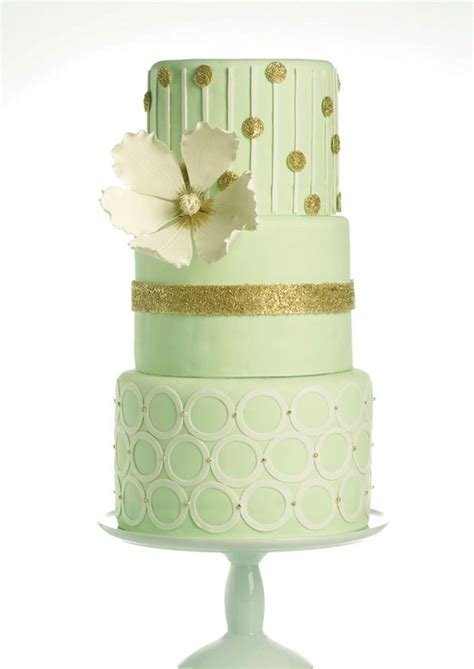 Mint Green And Gold Wedding Cake Weddingcakes Pinterest