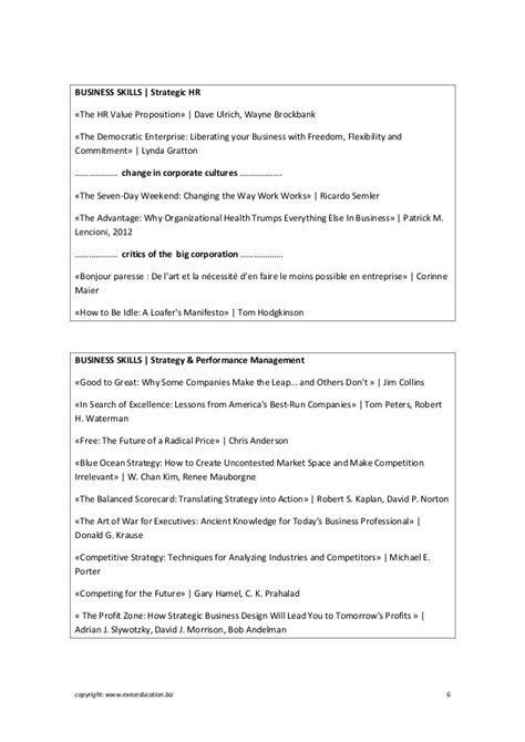 Books a reading list for top management
