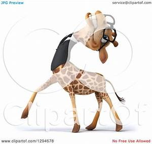 Clipart of a 3d Happy Bespectacled Business Giraffe ...