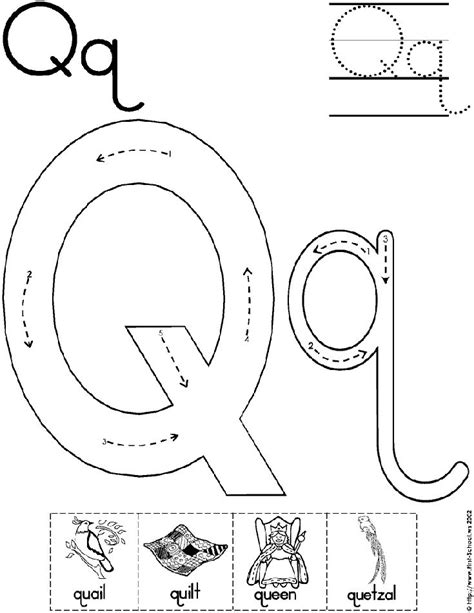 Alphabet Letter Q Worksheet  Standard Block Font  Preschool Printable Activity Early