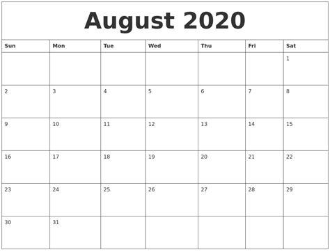 august print monthly calendar