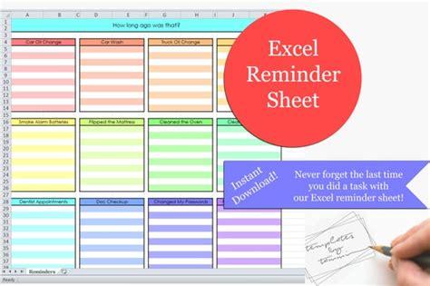 excel reminders sheet printable reminders    etsy