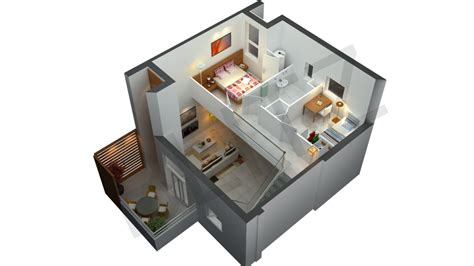 Modern 3D Isometric Views Of Small House Plans Kerala Home Design And Floor    Home Ideas