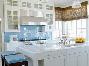 Kitchen angelic blue backsplash decoration idea white for Blue glass tiles for backsplash