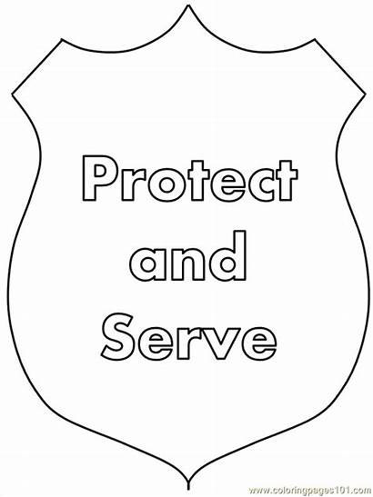 Police Coloring Pages Printable Officer Badge Crafts