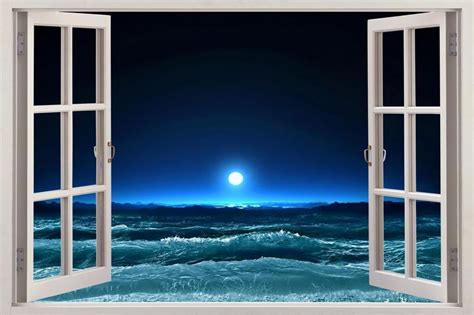 3d Window Ocean View Blue Sea Home Decor Wall Sticker: Moonlight Sea 3D Window View Decal WALL STICKER Art Mural