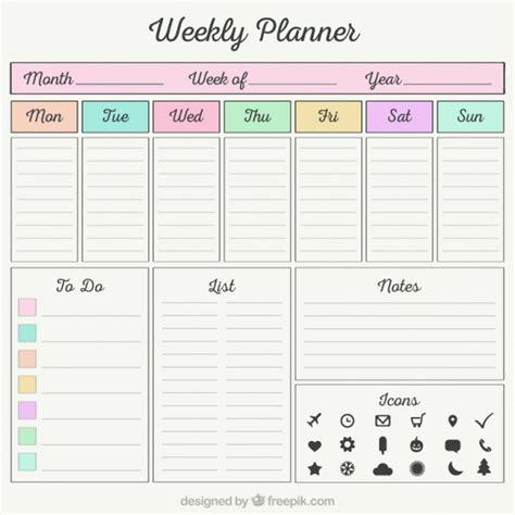 weekly planner  organizer elements  vector