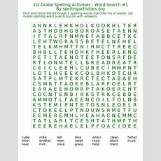1st Grade Word Search Spelling Activities #1